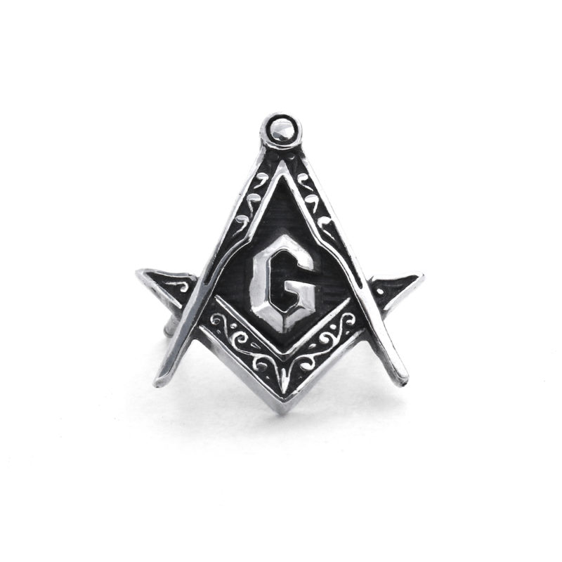 Ether11 Silver Free Mason Square and Compass Pin