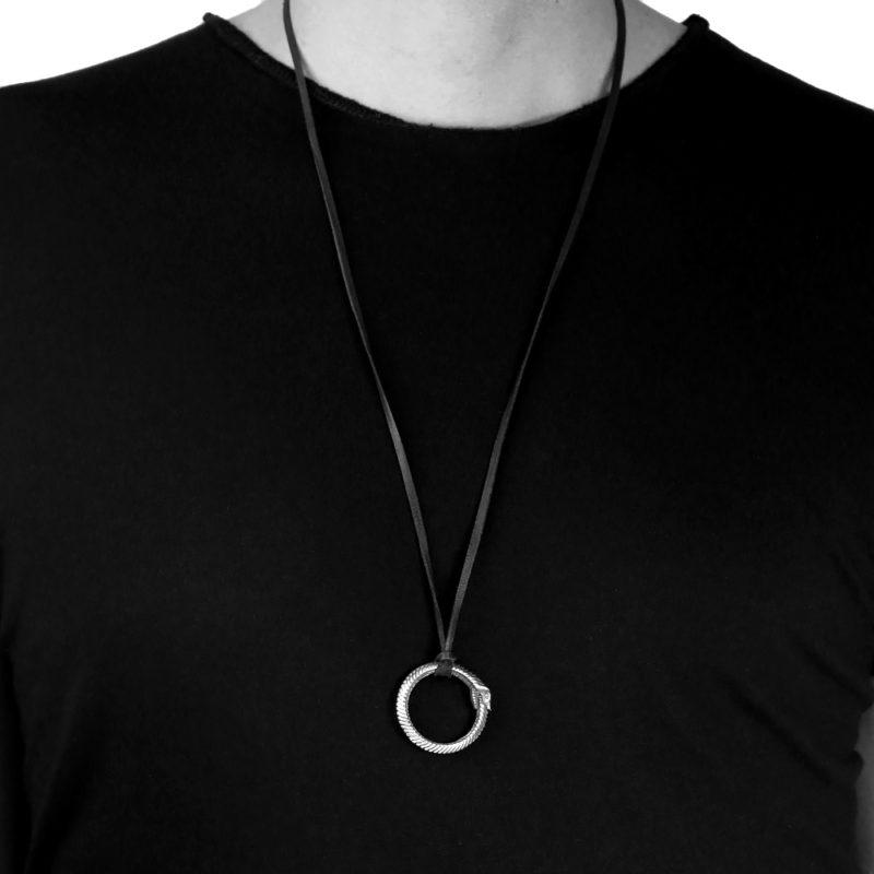 Ether11 Large Silver Ouroboros Pendant