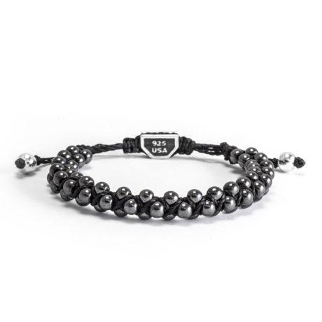 Ether11 Hematite Macrame Interlocked 4mm Bead Bracelet