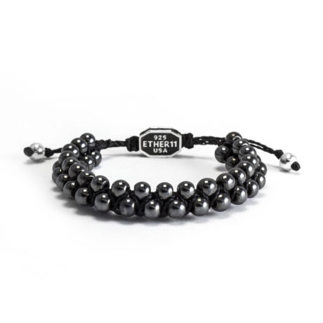 Ether11 Hematite Macrame Interlocked 5.5mm Bead Bracelet