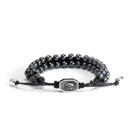 Ether11 Hematite Macrame Interlocked 5.5mm Bead Bracelet