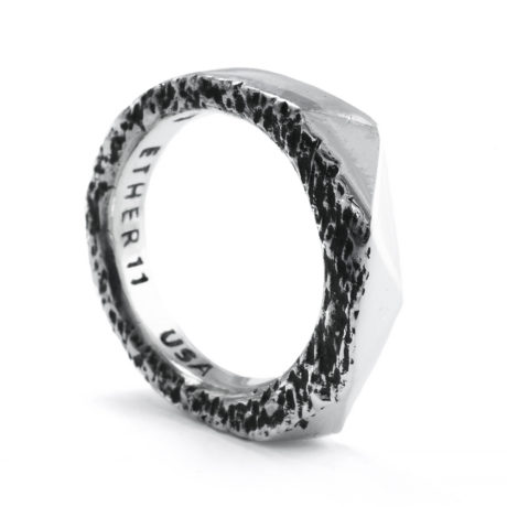 Ether Eleven Sterling Silver Faceted Thin Geode Ring