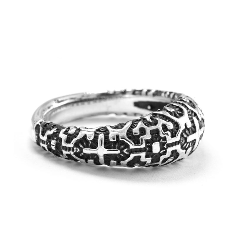 Ether Eleven Thin Shipibo Tribal Pattern Ring in Sterling Silver
