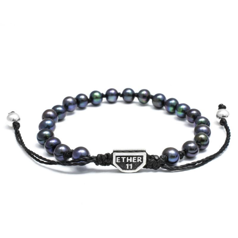 Ether11 Fresh Water Black Pearl Beaded Bracelet